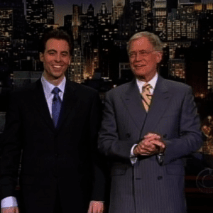 Rob Magnotti (Comedian Impressionist Actor) performing on the Late Show with David Letterman, CBS Television, with David Letterman (Television Host, Comedian, Writer, and Producer )